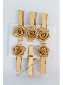 6 pinces roses or paillette