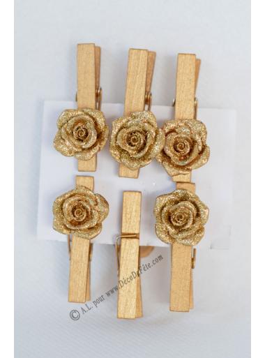 6 pinces roses or paillette