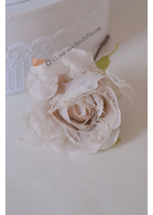 1 rose JEANNE dentelle ivoire/taupe