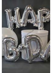 1 ballon fun HAPPY B-DAY argent
