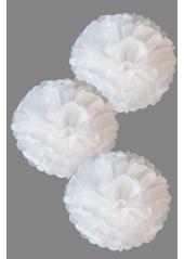 3 fleurs pompon papier blanc 20cm