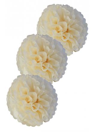 3 fleurs pompon papier ivoire 20cm