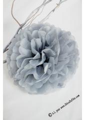 3 fleurs pompon papier gris 20cm