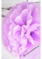 3 fleurs pompon papier mauve 20cm