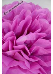 3 fleurs pompon papier aubergine 20cm