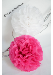3 fleurs pompon papier fushia 20cm