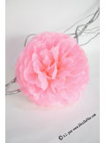 3 fleurs pompon papier rose 30cm