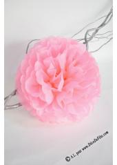 3 fleurs pompon papier rose 20cm