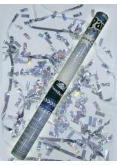 1 Canon à confettis rectangle argent 40cm