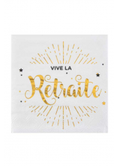 20 serviettes cocktail VIVE la RETRAITE !