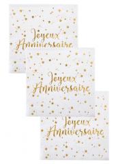 20 serviettes cocktail JOYEUX ANNIVERSAIRE !