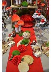 5M Chemin de table VELOURS rouge