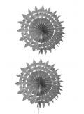 2 éventails de papier dentelle gris 20cm