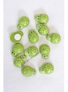 12 stickers coccinelles vertes