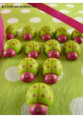 12 stickers coccinelles fushia & vertes