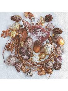 20 Serviettes jolie couronne de Noël