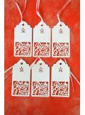 10 étiquettes JOYEUX NOEL blanc nacré