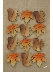 12 STICKERS feuilles et écureuil