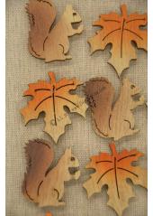 12 STICKERS feuilles et écureuils