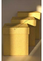 1 Urne tirelire PAILLETTE carrée OR 18cm