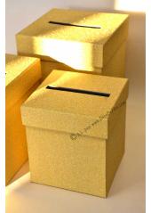 1 Urne tirelire PAILLETTE carrée OR 20cm