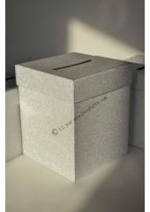 1 Urne tirelire PAILLETTE carrée ARGENT 20cm