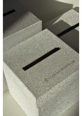 1 Urne tirelire PAILLETTE carrée ARGENT 18cm