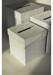 1 Urne tirelire PAILLETTE carrée ARGENT 16cm