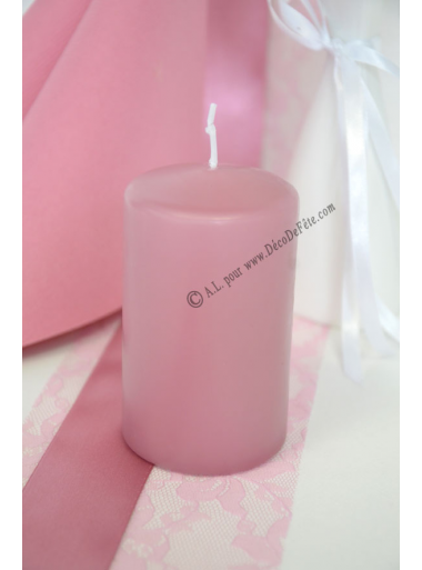 1 Bougie cylindre 10 cm VIEUX rose