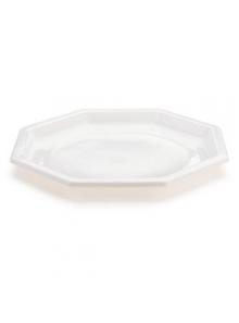 50 Assiettes à dessert plastiques octogonales blanc 18.5cm