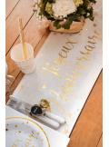 3M Chemin de table lin et or Joyeux Anniversaire