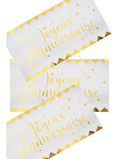 1 pancarte Joyeux Anniversaire OR