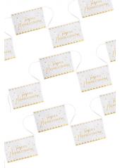 1 guirlande 12 fanions OR Joyeux Anniversaire