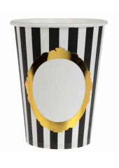 10 gobelets rayures noir  blanc Royal