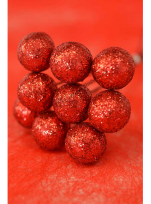 10 mini boules paillette  ROUGE