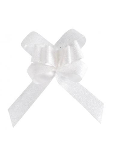 5 mini noeuds organdi paillette blanc