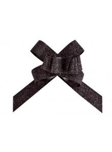 5 mini noeuds organdi paillette noir