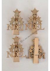 4 pinces NOEL ETOILE or
