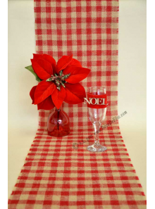 5M chemin de table JUTE VICHY ROUGE