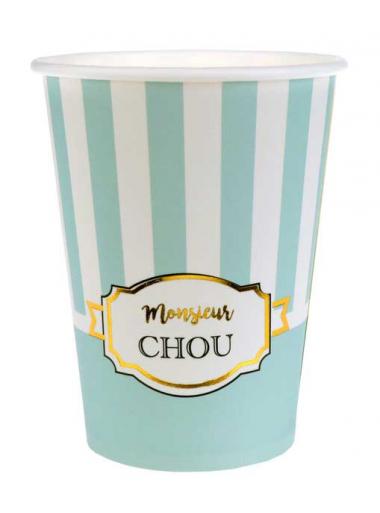10 gobelets monsieur chou bleu ciel
