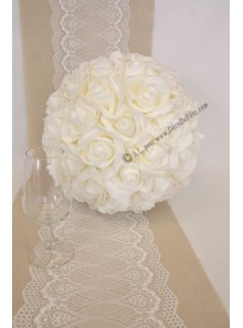 1 boule de roses BLANC 30cm