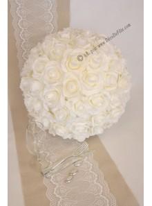 1 boule de roses BLANC 40cm