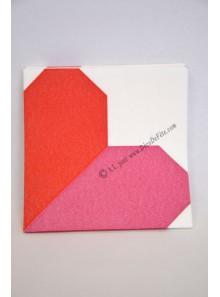12 Serviettes coeur rouge ou fushia ORIGAMI