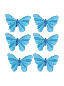 6 papillons turquoise