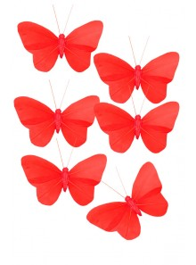 6 papillons rouge