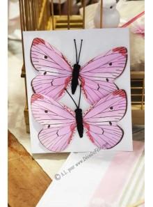 2 papillons YIN rose