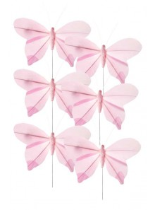 6 papillons rose