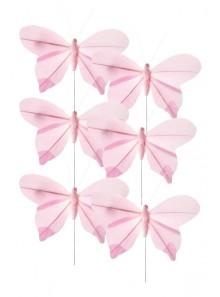 6 papillons rose