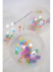 3 BALLONS confettis multicolores