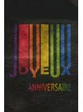 5M Chemin de table Joyeux Anniversaire rainbow NOIR